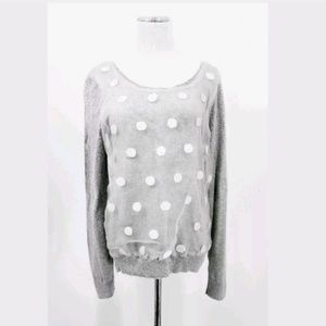 Lauren Conrad M Sweater Gray Polka Dot Bow Back